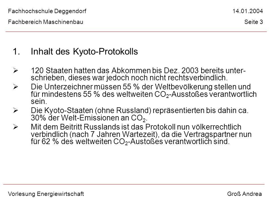 1. Inhalt des Kyoto-Protokolls 120 Staaten hatten das Abkommen bis Dez. 2003 bereits unter- schrieben, dieses war jedoch noch nicht rechtsverbindlich.