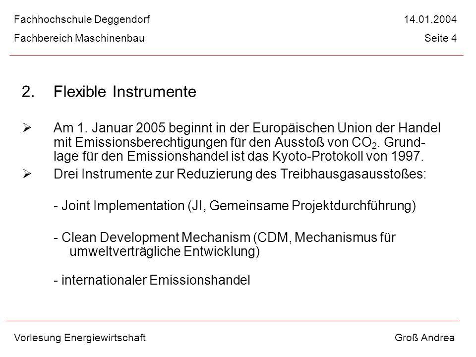 2. Flexible Instrumente Am 1. Januar 2005 beginnt in der Europäischen Union der Handel mit Emissionsberechtigungen für den Ausstoß von CO 2. Grund- la
