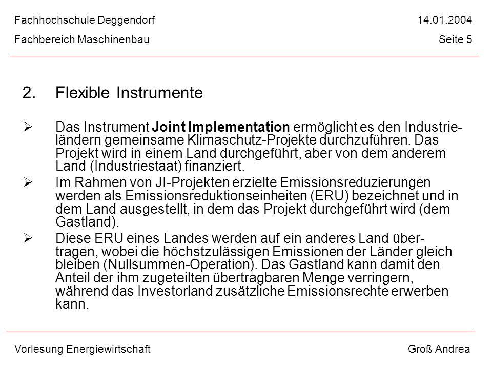 2. Flexible Instrumente Das Instrument Joint Implementation ermöglicht es den Industrie- ländern gemeinsame Klimaschutz-Projekte durchzuführen. Das Pr