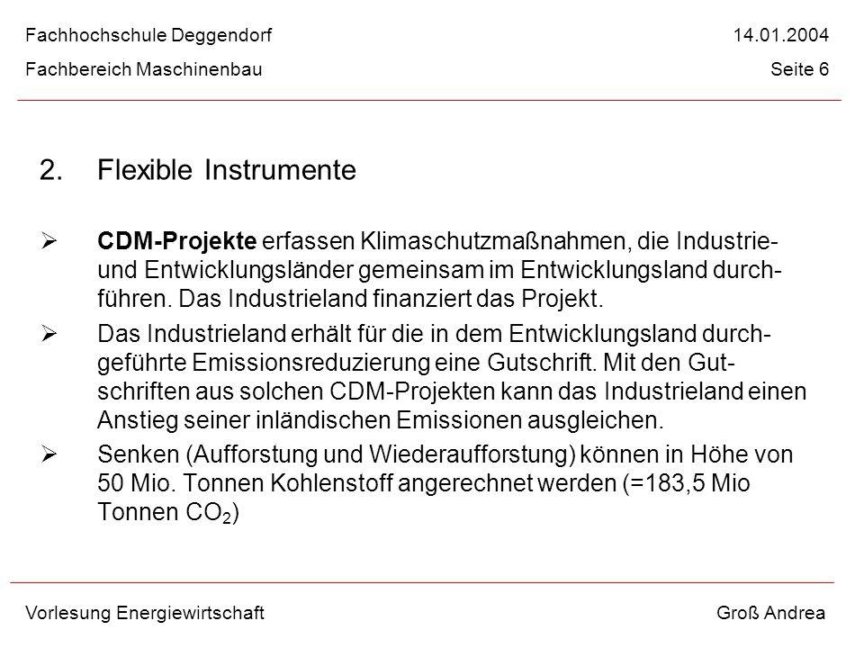 2. Flexible Instrumente CDM-Projekte erfassen Klimaschutzmaßnahmen, die Industrie- und Entwicklungsländer gemeinsam im Entwicklungsland durch- führen.