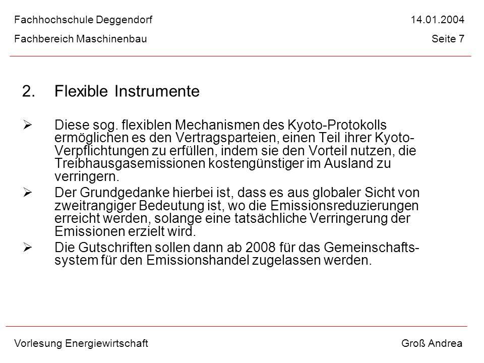 2. Flexible Instrumente Diese sog. flexiblen Mechanismen des Kyoto-Protokolls ermöglichen es den Vertragsparteien, einen Teil ihrer Kyoto- Verpflichtu