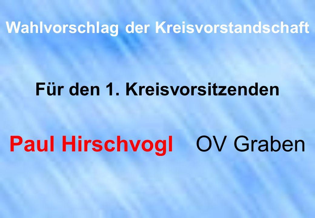 Wahlvorschlag der Kreisvorstandschaft Für den 1. Kreisvorsitzenden Paul Hirschvogl OV Graben
