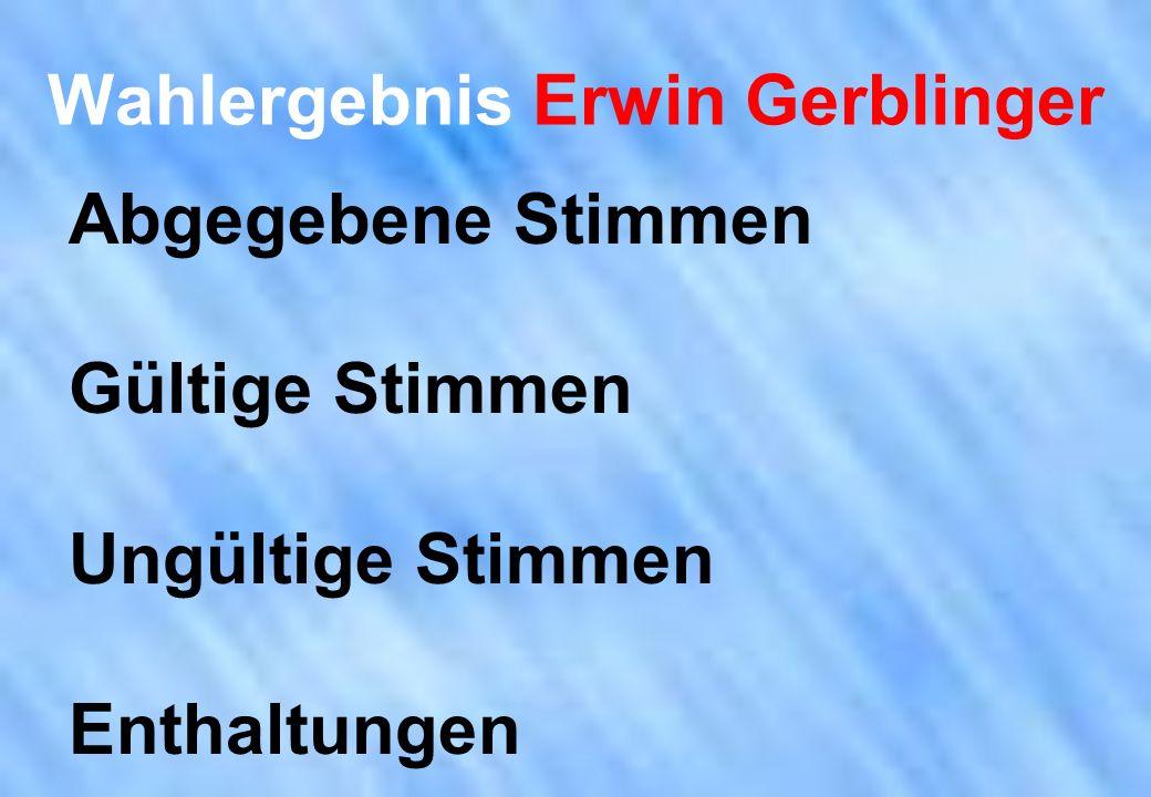 Wahlergebnis Erwin Gerblinger Abgegebene Stimmen Gültige Stimmen Ungültige Stimmen Enthaltungen