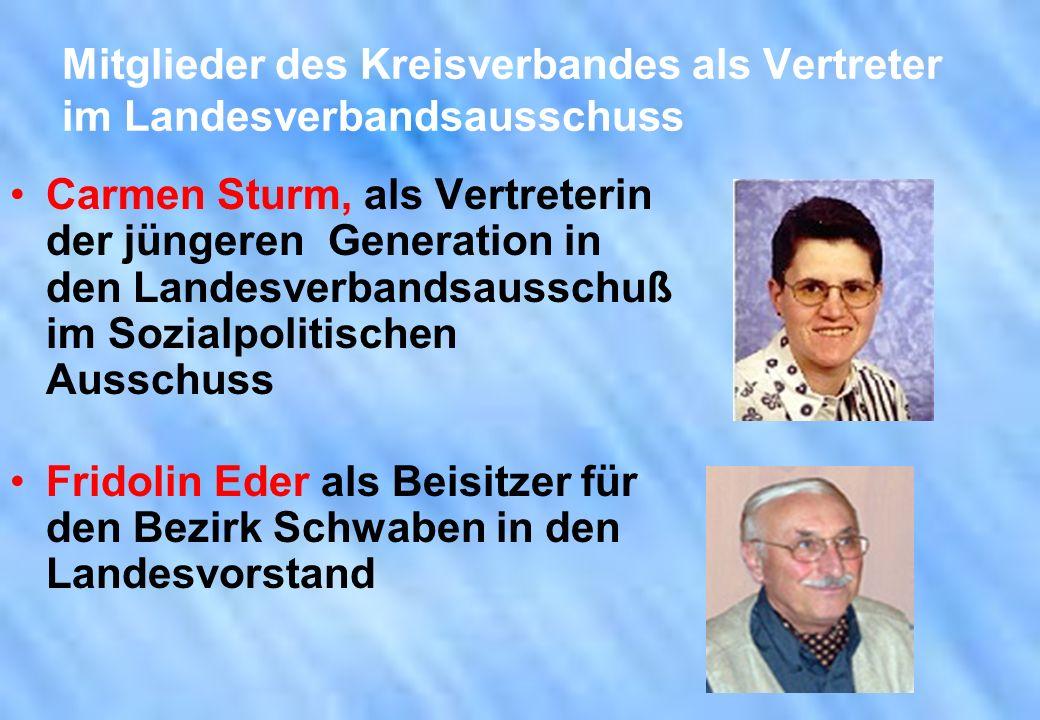 Mitglieder des Kreisverbandes als Vertreter im Landesverbandsausschuss Carmen Sturm, als Vertreterin der jüngeren Generation in den Landesverbandsauss