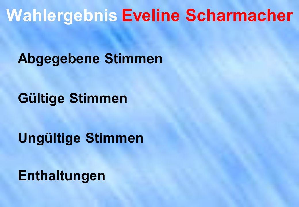 Wahlergebnis Eveline Scharmacher Abgegebene Stimmen Gültige Stimmen Ungültige Stimmen Enthaltungen