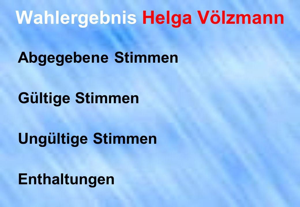 Wahlergebnis Helga Völzmann Abgegebene Stimmen Gültige Stimmen Ungültige Stimmen Enthaltungen