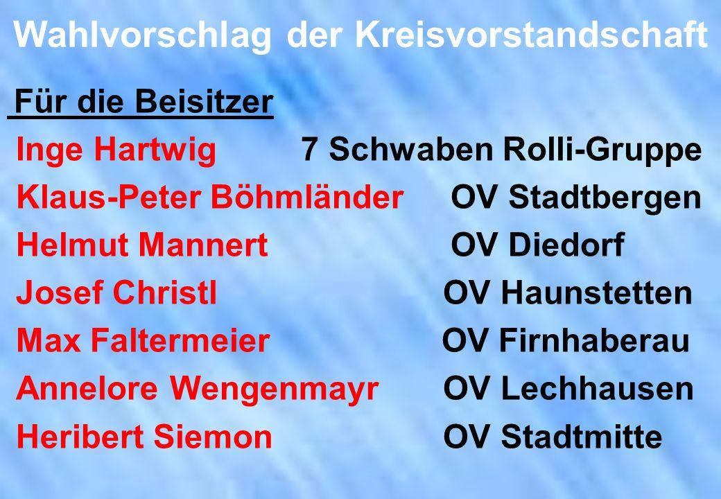 Wahlvorschlag der Kreisvorstandschaft Für die Beisitzer Inge Hartwig 7 Schwaben Rolli-Gruppe Klaus-Peter Böhmländer OV Stadtbergen Helmut Mannert OV D