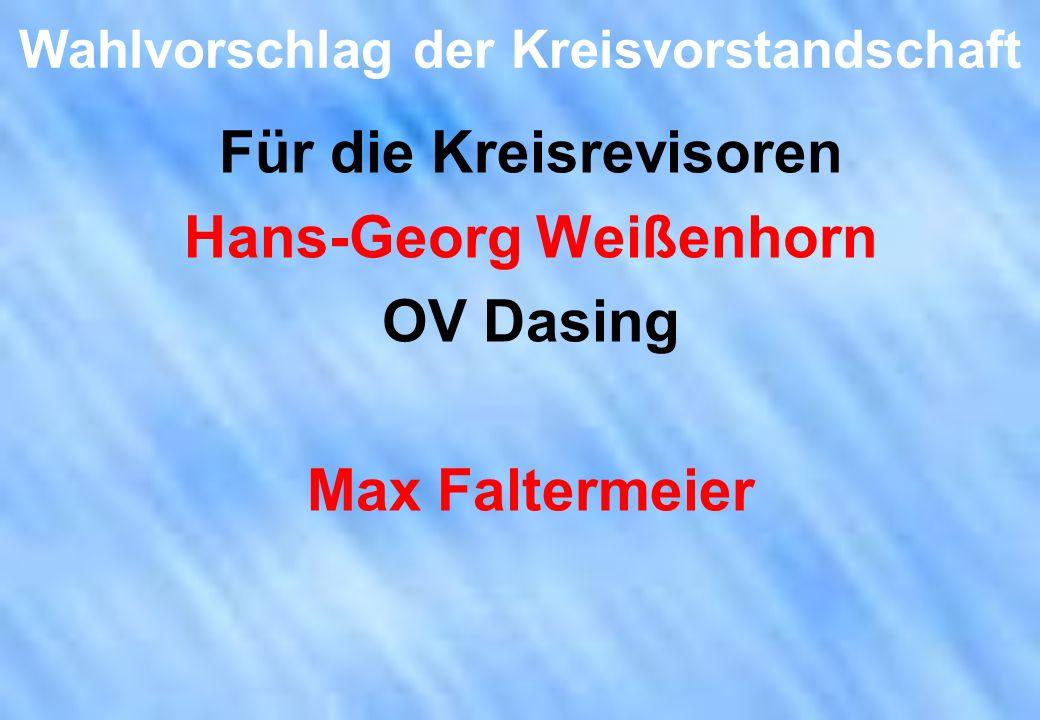 Wahlvorschlag der Kreisvorstandschaft Für die Kreisrevisoren Hans-Georg Weißenhorn OV Dasing Max Faltermeier