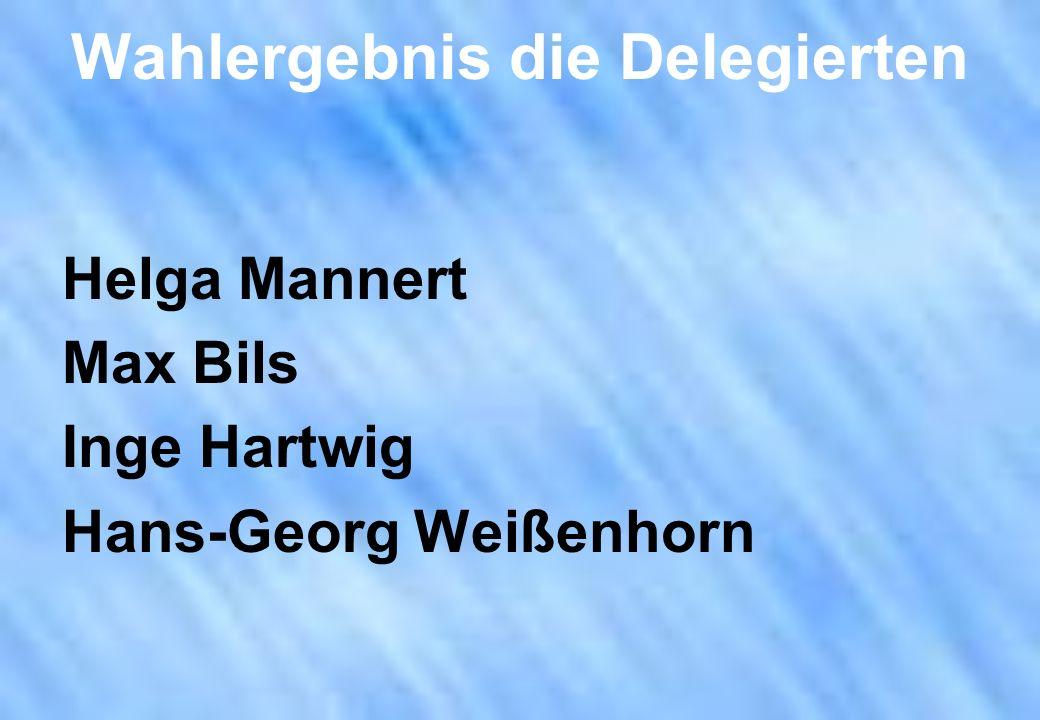 Wahlergebnis die Delegierten Helga Mannert Max Bils Inge Hartwig Hans-Georg Weißenhorn