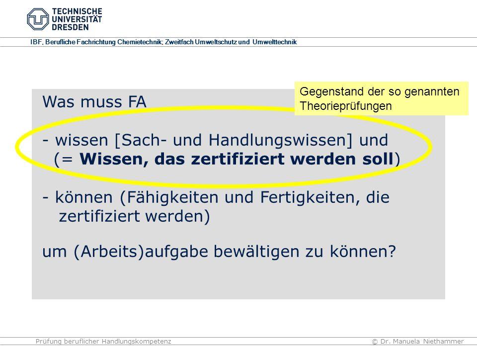 IBF, Berufliche Fachrichtung Chemietechnik; Zweitfach Umweltschutz und Umwelttechnik © Dr. Manuela NiethammerPrüfung beruflicher Handlungskompetenz Wa