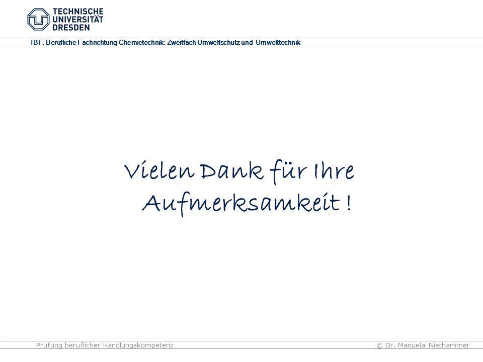 IBF, Berufliche Fachrichtung Chemietechnik; Zweitfach Umweltschutz und Umwelttechnik © Dr. Manuela NiethammerPrüfung beruflicher Handlungskompetenz Vi