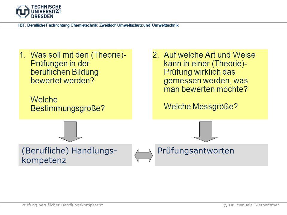 IBF, Berufliche Fachrichtung Chemietechnik; Zweitfach Umweltschutz und Umwelttechnik © Dr. Manuela NiethammerPrüfung beruflicher Handlungskompetenz 2.