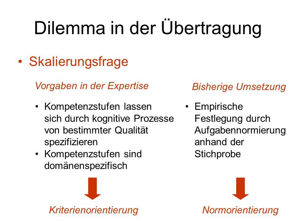 Dilemma in der Übertragung Skalierungsfrage Vorgaben in der Expertise Kompetenzstufen lassen sich durch kognitive Prozesse von bestimmter Qualität spe