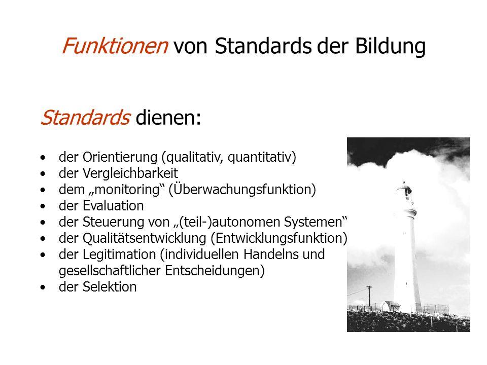 Funktionen von Standards der Bildung Standards dienen: der Orientierung (qualitativ, quantitativ) der Vergleichbarkeit dem monitoring (Überwachungsfun