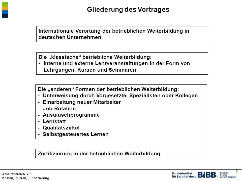 ® Arbeitsbereich 2.3 Kosten, Nutzen, Finanzierung Gliederung des Vortrages Internationale Verortung der betrieblichen Weiterbildung in deutschen Unter