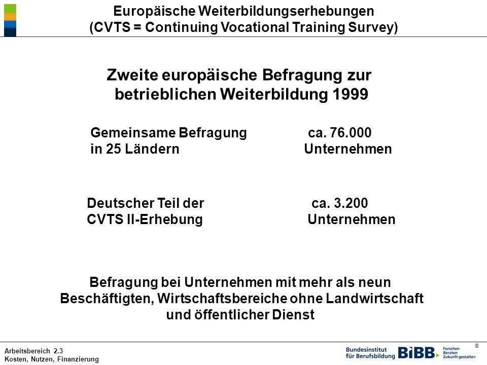 ® Arbeitsbereich 2.3 Kosten, Nutzen, Finanzierung Zweite europäische Befragung zur betrieblichen Weiterbildung 1999 Gemeinsame Befragung ca. 76.000 in