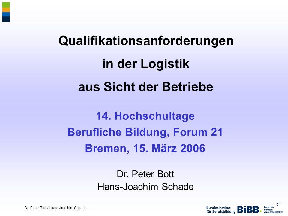 ® Dr. Peter Bott / Hans-Joachim Schade Qualifikationsanforderungen in der Logistik aus Sicht der Betriebe 14. Hochschultage Berufliche Bildung, Forum
