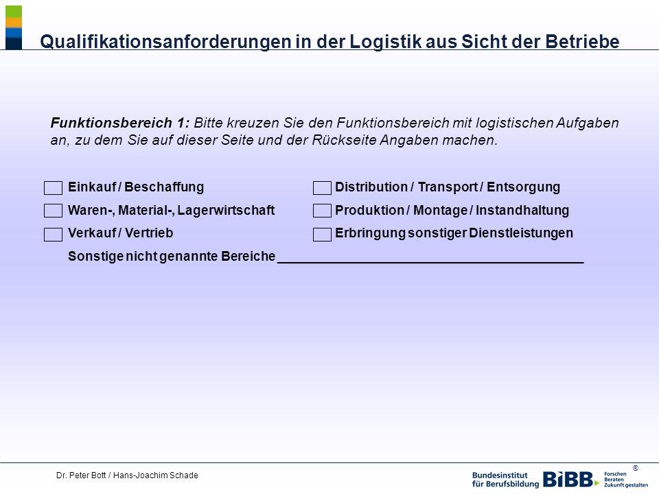 ® Dr. Peter Bott / Hans-Joachim Schade Funktionsbereich 1: Bitte kreuzen Sie den Funktionsbereich mit logistischen Aufgaben an, zu dem Sie auf dieser