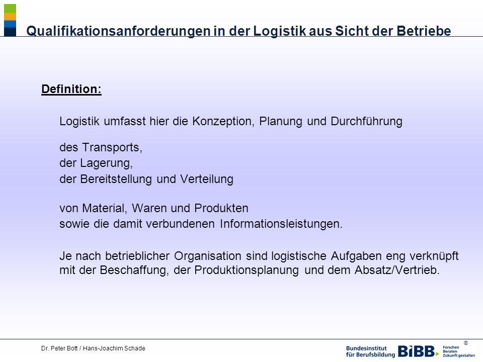 ® Dr. Peter Bott / Hans-Joachim Schade Qualifikationsanforderungen in der Logistik aus Sicht der Betriebe Definition: Logistik umfasst hier die Konzep