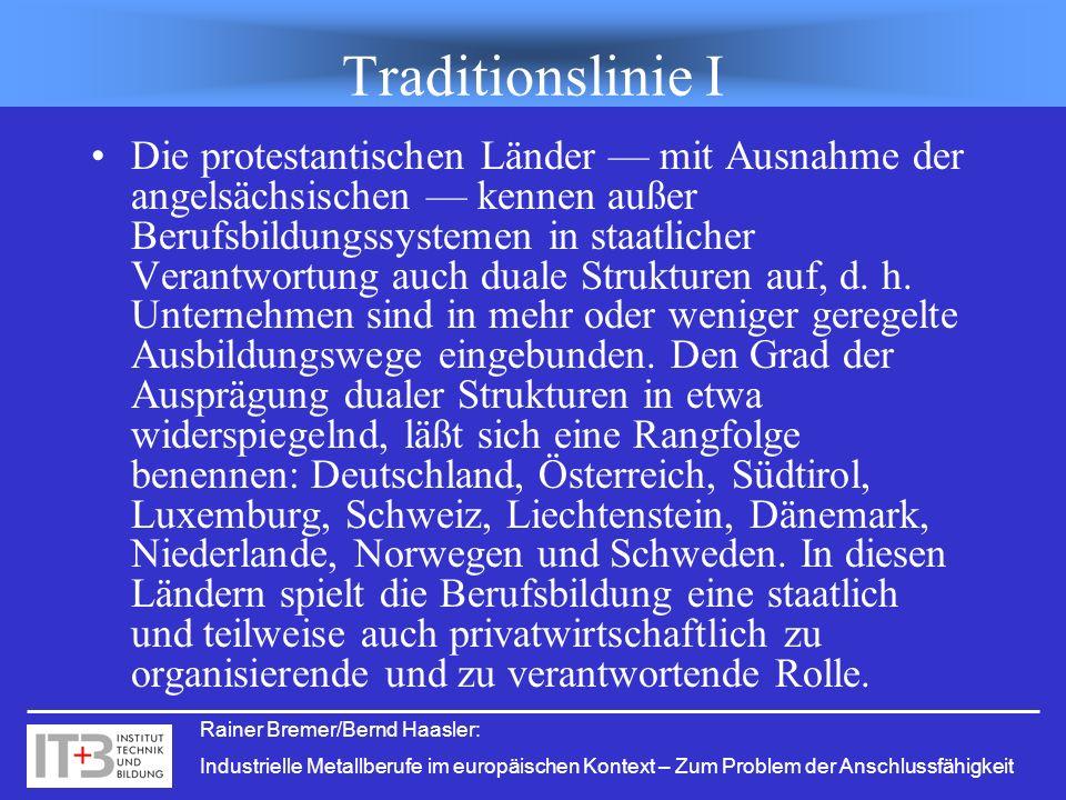 Rainer Bremer/Bernd Haasler: Industrielle Metallberufe im europäischen Kontext – Zum Problem der Anschlussfähigkeit Traditionslinie I Die protestantis