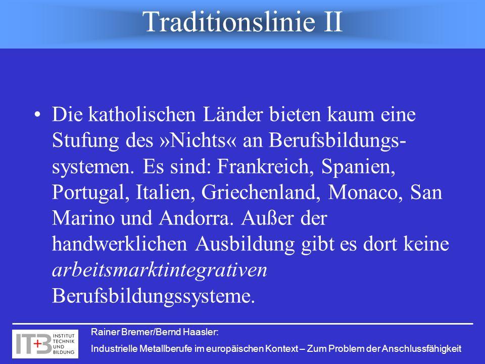 Rainer Bremer/Bernd Haasler: Industrielle Metallberufe im europäischen Kontext – Zum Problem der Anschlussfähigkeit Traditionslinie II Die katholische