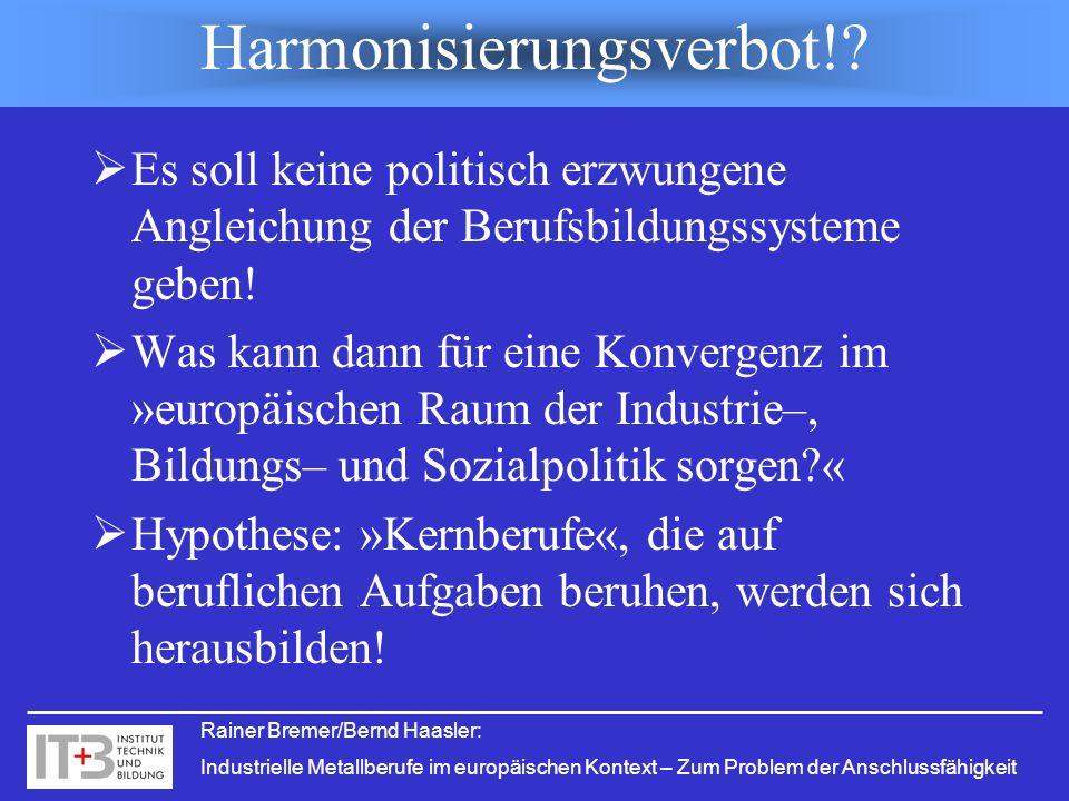 Rainer Bremer/Bernd Haasler: Industrielle Metallberufe im europäischen Kontext – Zum Problem der Anschlussfähigkeit Harmonisierungsverbot!? Es soll ke