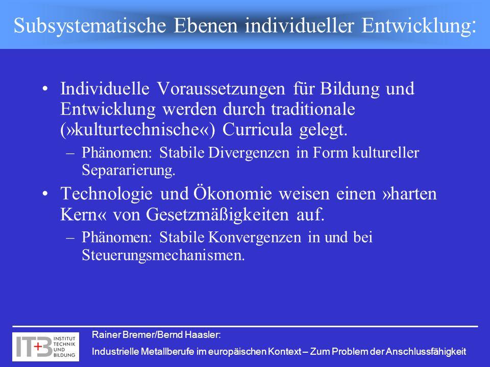 Rainer Bremer/Bernd Haasler: Industrielle Metallberufe im europäischen Kontext – Zum Problem der Anschlussfähigkeit Individuelle Voraussetzungen für B