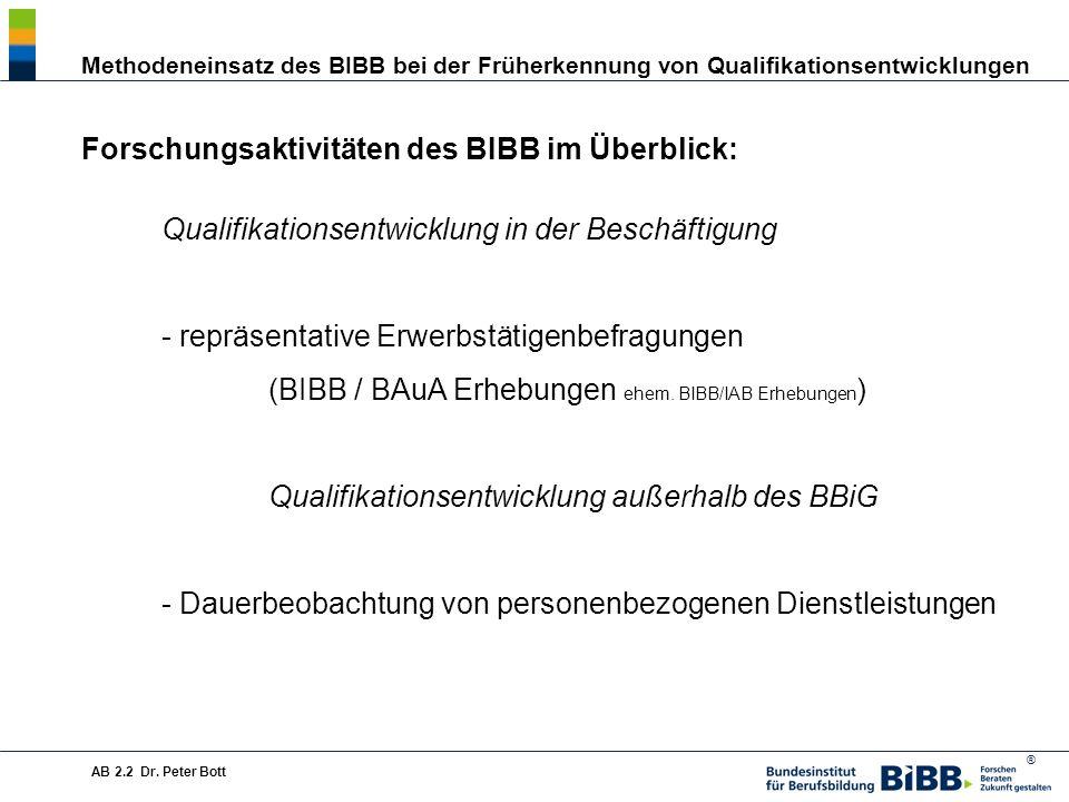 ® Methodeneinsatz des BIBB bei der Früherkennung von Qualifikationsentwicklungen AB 2.2 Dr.