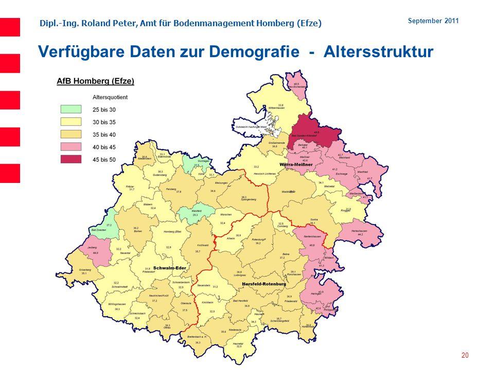 Dipl.-Ing. Roland Peter, Amt für Bodenmanagement Homberg (Efze) 20 September 2011 Verfügbare Daten zur Demografie - Altersstruktur
