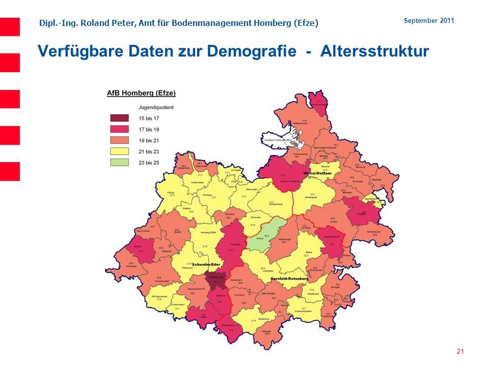 Dipl.-Ing. Roland Peter, Amt für Bodenmanagement Homberg (Efze) 21 September 2011 Verfügbare Daten zur Demografie - Altersstruktur