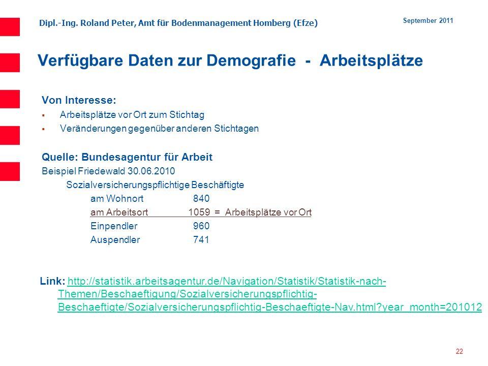 Dipl.-Ing. Roland Peter, Amt für Bodenmanagement Homberg (Efze) 22 September 2011 Verfügbare Daten zur Demografie - Arbeitsplätze Von Interesse: Arbei