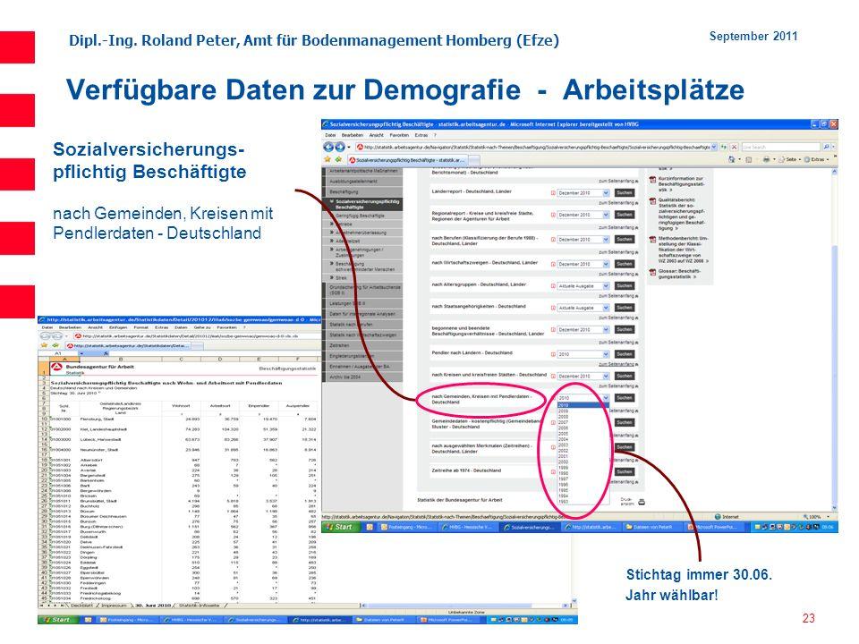 Dipl.-Ing. Roland Peter, Amt für Bodenmanagement Homberg (Efze) 23 September 2011 Verfügbare Daten zur Demografie - Arbeitsplätze Sozialversicherungs-