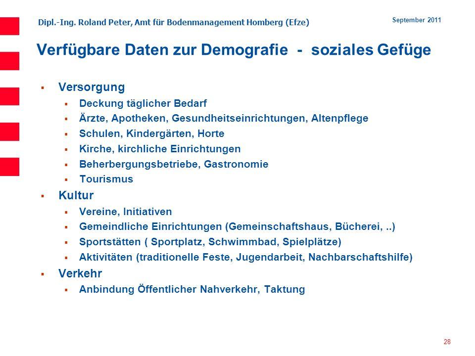 Dipl.-Ing. Roland Peter, Amt für Bodenmanagement Homberg (Efze) 28 September 2011 Verfügbare Daten zur Demografie - soziales Gefüge Versorgung Deckung