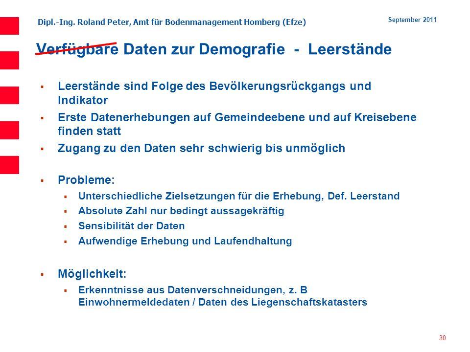 Dipl.-Ing. Roland Peter, Amt für Bodenmanagement Homberg (Efze) 30 September 2011 Verfügbare Daten zur Demografie - Leerstände Leerstände sind Folge d