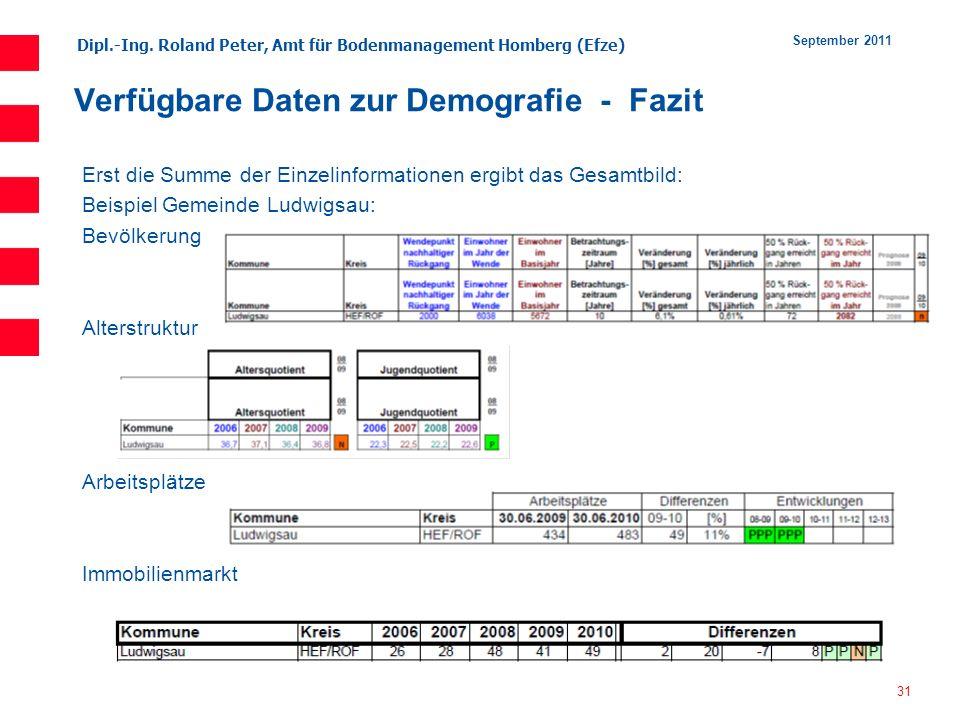 Dipl.-Ing. Roland Peter, Amt für Bodenmanagement Homberg (Efze) 31 September 2011 Verfügbare Daten zur Demografie - Fazit Erst die Summe der Einzelinf