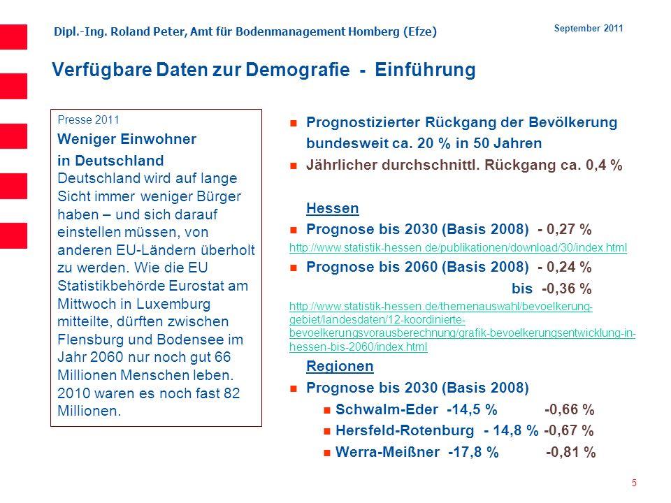 Dipl.-Ing. Roland Peter, Amt für Bodenmanagement Homberg (Efze) 5 September 2011 Verfügbare Daten zur Demografie - Einführung Presse 2011 Weniger Einw