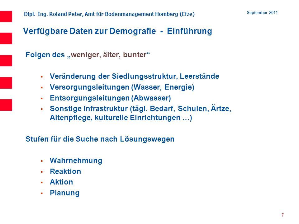 Dipl.-Ing. Roland Peter, Amt für Bodenmanagement Homberg (Efze) 7 September 2011 Verfügbare Daten zur Demografie - Einführung Folgen des weniger, älte