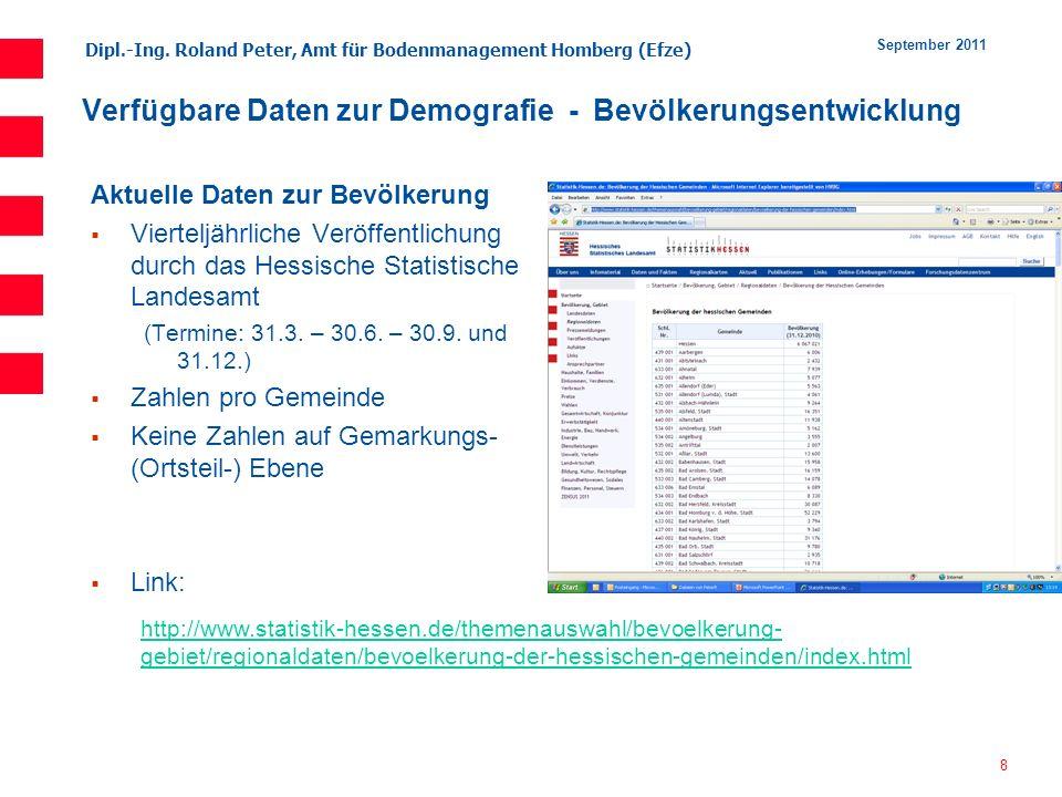 Dipl.-Ing. Roland Peter, Amt für Bodenmanagement Homberg (Efze) 8 September 2011 Verfügbare Daten zur Demografie - Bevölkerungsentwicklung Aktuelle Da