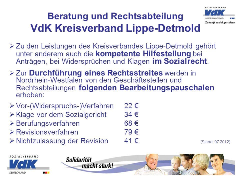 Zu den Leistungen des Kreisverbandes Lippe-Detmold gehört unter anderem auch die kompetente Hilfestellung bei Anträgen, bei Widersprüchen und Klagen i