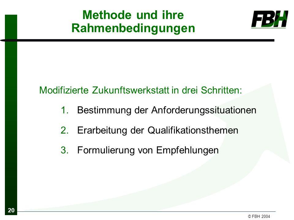 20 © FBH 2004 Methode und ihre Rahmenbedingungen Modifizierte Zukunftswerkstatt in drei Schritten: 1.Bestimmung der Anforderungssituationen 2.Erarbeitung der Qualifikationsthemen 3.Formulierung von Empfehlungen