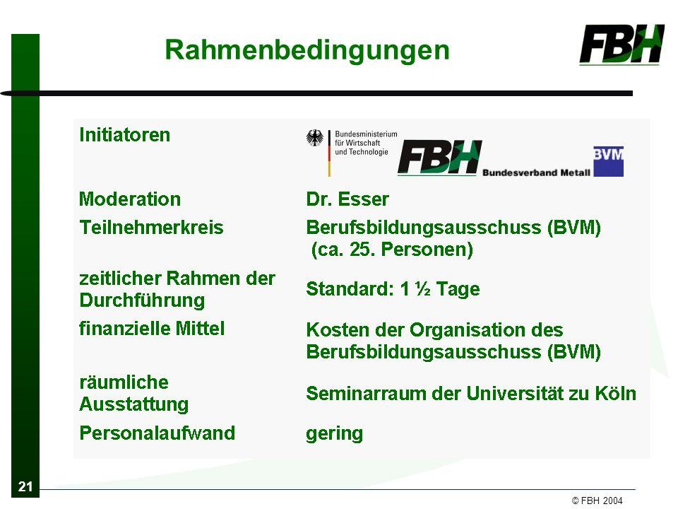 21 © FBH 2004 Rahmenbedingungen