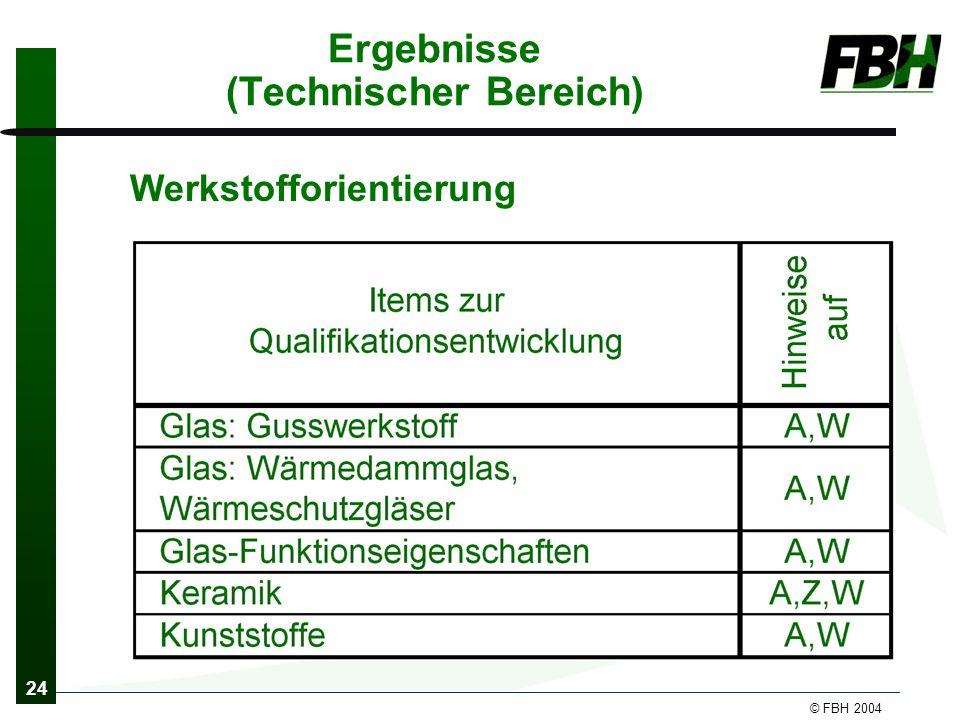 24 © FBH 2004 Ergebnisse (Technischer Bereich) Werkstofforientierung
