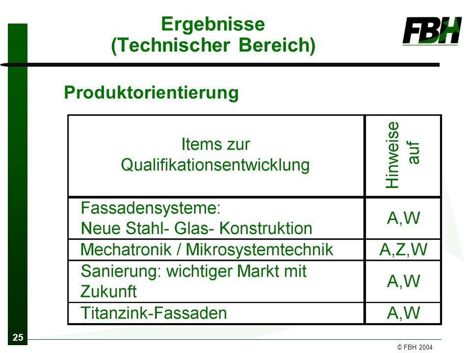 25 © FBH 2004 Ergebnisse (Technischer Bereich) Produktorientierung