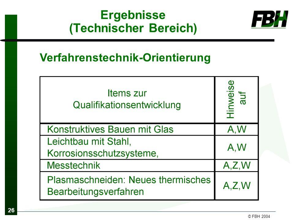 26 © FBH 2004 Ergebnisse (Technischer Bereich) Verfahrenstechnik-Orientierung