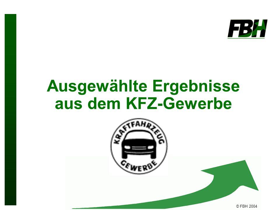 © FBH 2004 Ausgewählte Ergebnisse aus dem KFZ-Gewerbe