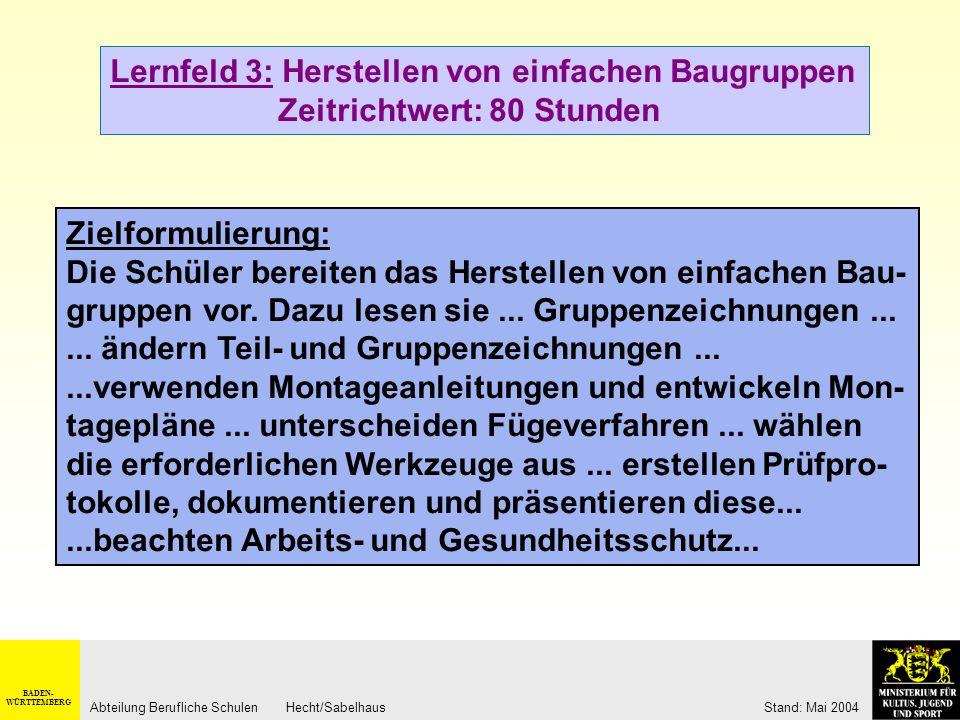 BADEN- WÜRTTEMBERG Abteilung Berufliche Schulen Hecht/Sabelhaus Stand: Mai 2004 Lernfeld 3: Herstellen von einfachen Baugruppen Zeitrichtwert: 80 Stun