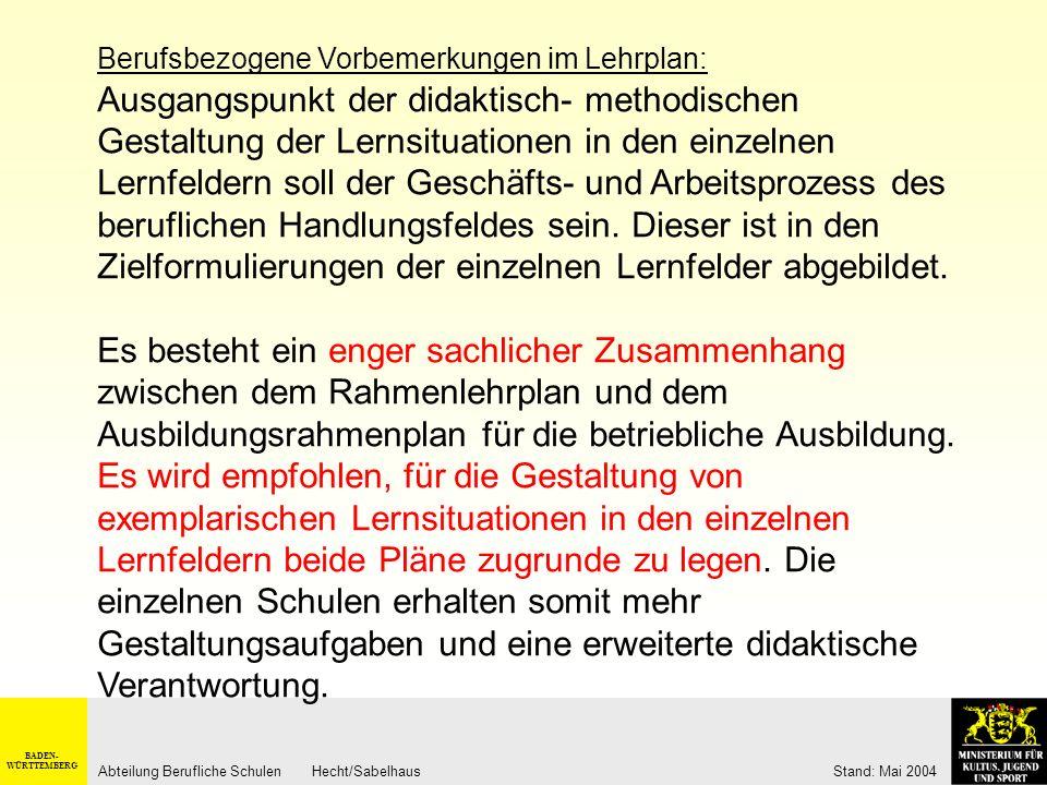 Handlungsfeld – Lernfeld – Zeitrahmen am Beispiel Zerspanungsmechaniker/-in