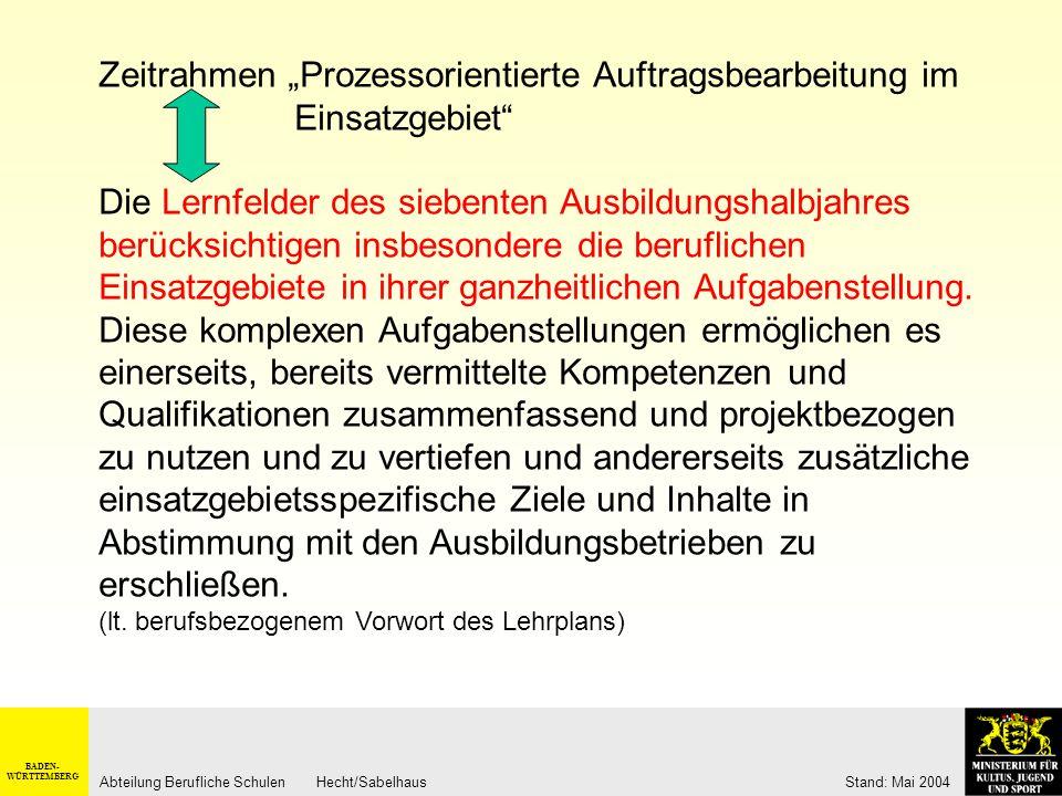 BADEN- WÜRTTEMBERG Abteilung Berufliche Schulen Hecht/Sabelhaus Stand: Mai 2004 Berufsbezogene Vorbemerkungen im Lehrplan: Ausgangspunkt der didaktisc
