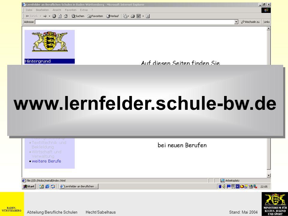 BADEN- WÜRTTEMBERG Abteilung Berufliche Schulen Hecht/Sabelhaus Stand: Mai 2004 Zeitrahmen Prozessorientierte Auftragsbearbeitung im Einsatzgebiet Die