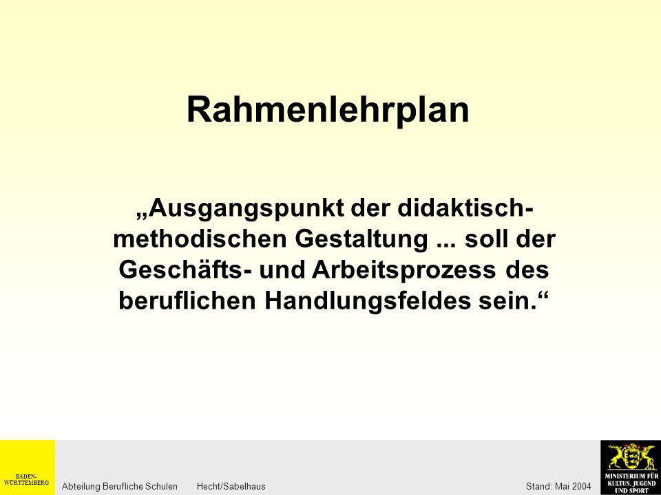 BADEN- WÜRTTEMBERG Abteilung Berufliche Schulen Hecht/Sabelhaus Stand: Mai 2004 Geschäftsprozesse als Lernfelder